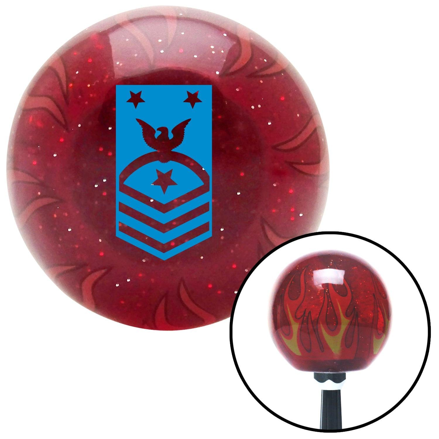 American Shifter 241495 Red Flame Metal Flake Shift Knob with M16 x 1.5 Insert Blue Force or Fleet Command Master Chief Petty Officer