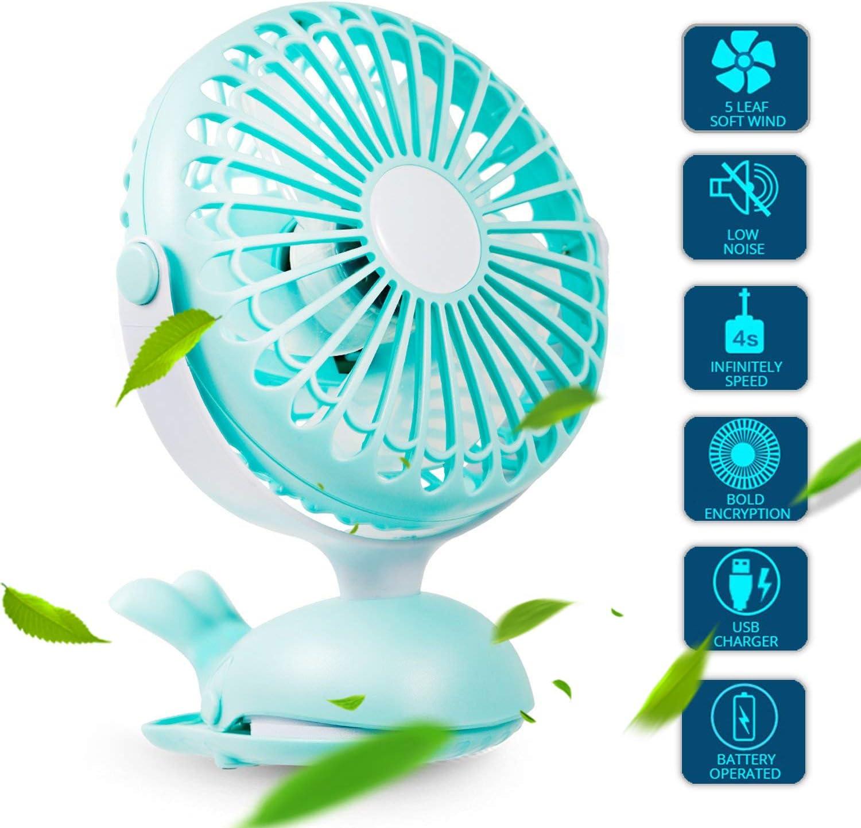 Clip Fan Portable Mini USB – Battery Operated Fan Silent Desk Fan, 360 Rotation, Rechargeable Battery Powered Fan, Small Cooling Quiet for Stroller, Bedroom, Office, Woman, Kids, Travel