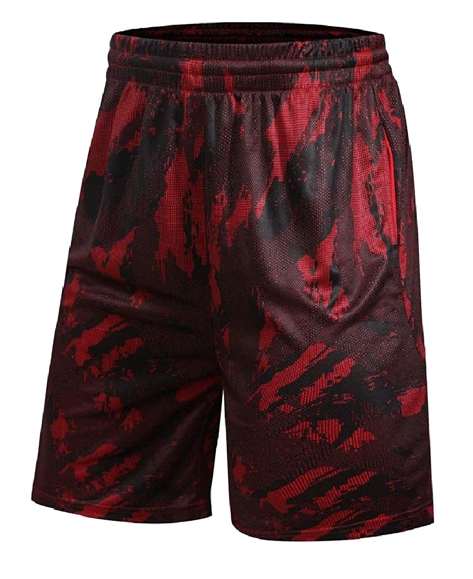 Tootless-Men Plus-Size Casual Multicam Breathable Basketball Mid Length Short