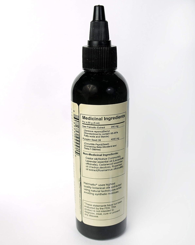 Alopecia Castor/Saw Palmetto aceite Topical Tratamiento Para El Crecimiento del Vello, 3 Mes Suministro, para hombres y mujeres