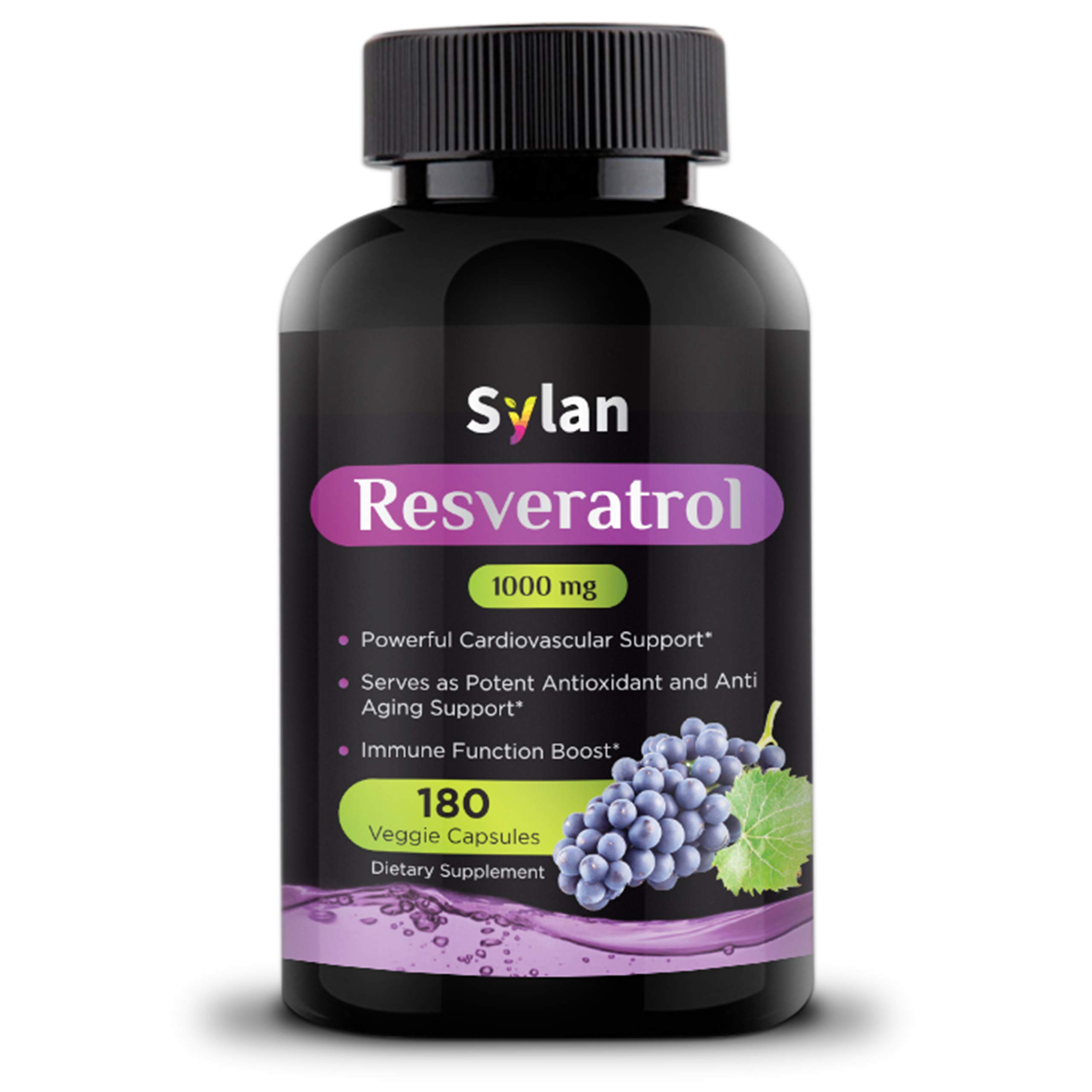 Sylan Trans Resveratrol 1000mg 180 Capsules Antioxidant Anti Aging Supplement Supports Heart Health Natural Weight Loss Joint Support Brain Function & Immune System Health Veggie Non-GMO Made in USA
