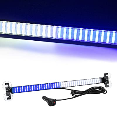 80 LED 13 Flash Patterns High Intensity Emergency Law Enforcement Vehicles Truck Warning Traffic Advisor Blue White Strobe Deck Light Bar Fit for Interior Roof Windshield with 4 Suction Cups: Automotive