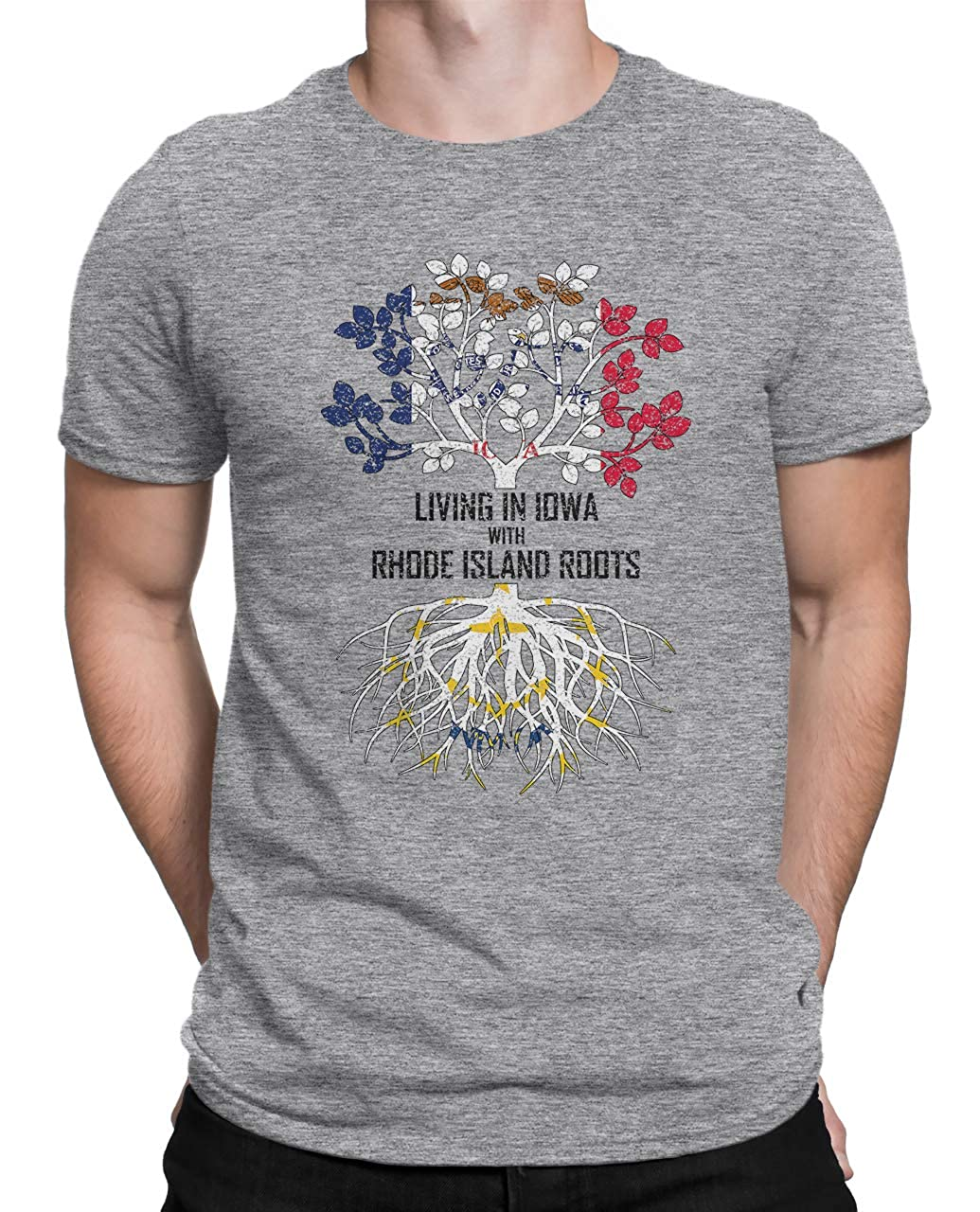 Tenacitee Mens Living in Iowa Rhode Island Roots T-Shirt