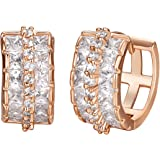 Shally 18K Austrian Crystal Rose Gold Plated Round Hoop Earrings