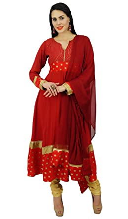 Atasi Womens Red Flaired Long Anarkali Salwaar Kurta Suit Set With