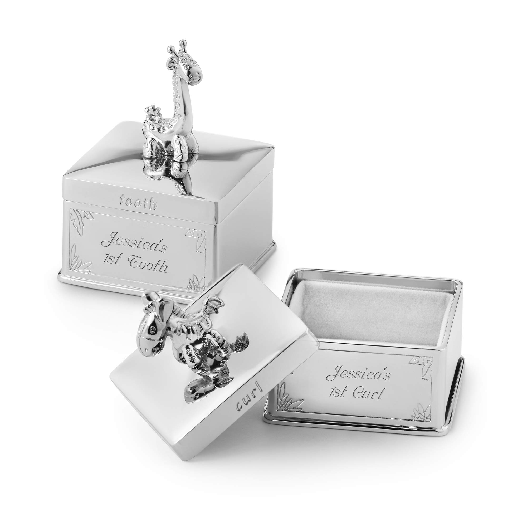 Things Remembered Personalized Silver Safari Animal First Tooth and Curl Set with Engraving Included by Things Remembered