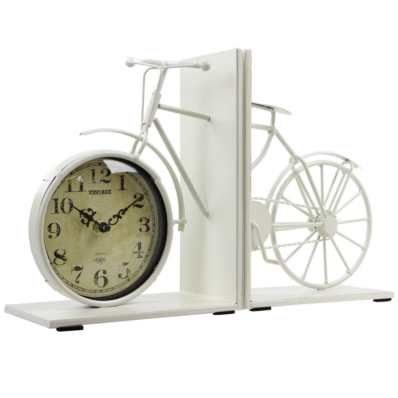 Vintage weiß Metall Bike Design Buchstützen Home Office-Buch Halter Regal Lesser and Pavey