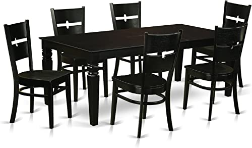 LGRO7-BLK-W 7 Pc Dining set with a Dining Table and 6 Wood Dining Chairs in Black