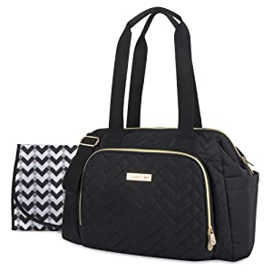 Fisher Price Quilted Diaper Bag Tote & Convertible Crossbody with Adjustable Strap, Insulated Bottle Pocket, Changing Pad