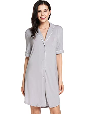 Image Unavailable. Image not available for. Color  Avidlove Womens  Nightshirt Short Sleeves Pajama Top Boyfriend Shirt Dress Nightie Sleepwear 0ebee07dc