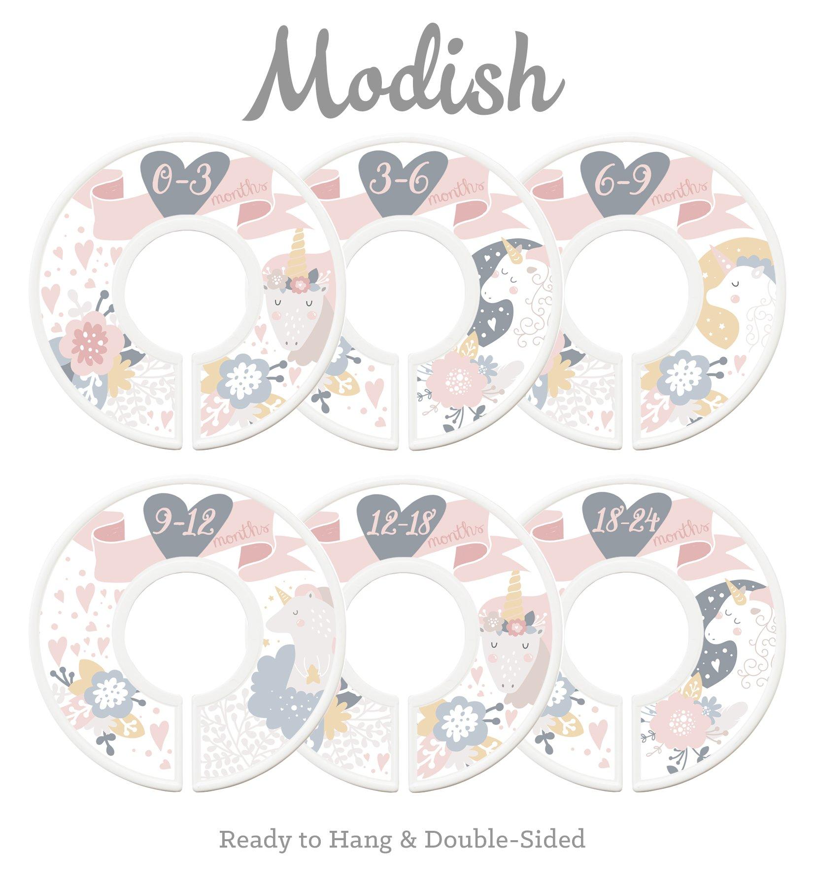 Modish Labels Baby Nursery Closet Dividers, Closet Organizers, Nursery Decor, Baby Girl, Pink, Gray, Grey, Gold, Floral, Unicorn