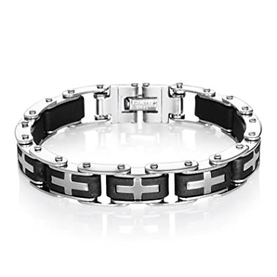 Amazon Com Obsede Mens Stainless Steel Cross Bracelet Mechanical