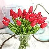 10 pezzi reale tocco PU lattice artificiale del tulipano Fiori per Wedding Bouquet di fiori finti e Decorazione per la Casa Garden Decor, simulazione reale di tocco del tulipano colorato per il regalo di compleanno di Natale San Valentino(Rosso)