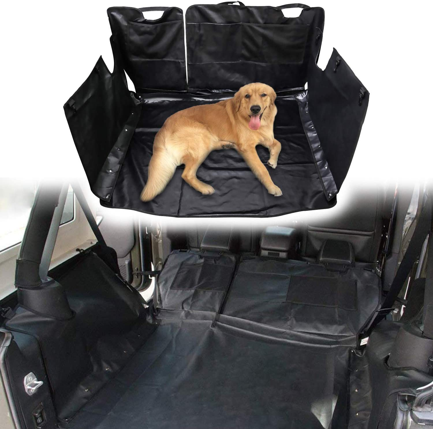 EnRand Waterproof Dog Car Seat Cover for Jeep Wrangler JL JLU ultipurpose Storage Case Hammock Style Nonslip Waterproof Trunk Liner Mat Cover for pet 600D Oxford Fabric
