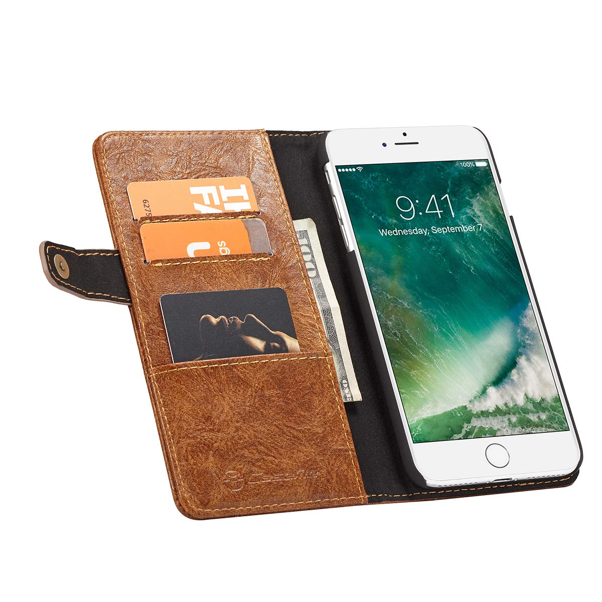 Hemobllo Case for iPhone 7 Plus//8 Plus Genuine Leather Phone Cover SLR Side Buckle Business Holster Outer Double Card Position Pluggable Traffic Card Inside 3 Card Position 1 Wallet Hard Phone Case for iPhone 7 Plus//8 Plus Brown