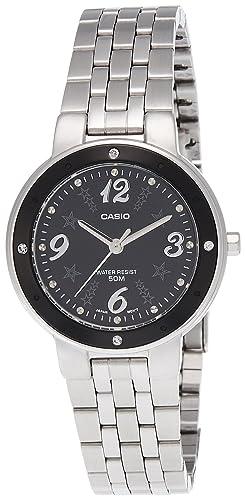 0dafff59f82b CASIO 19732 LTP-1318D-1AV - Reloj Señora cuarzo brazalete metálico dial  negro  Casio  Amazon.es  Relojes