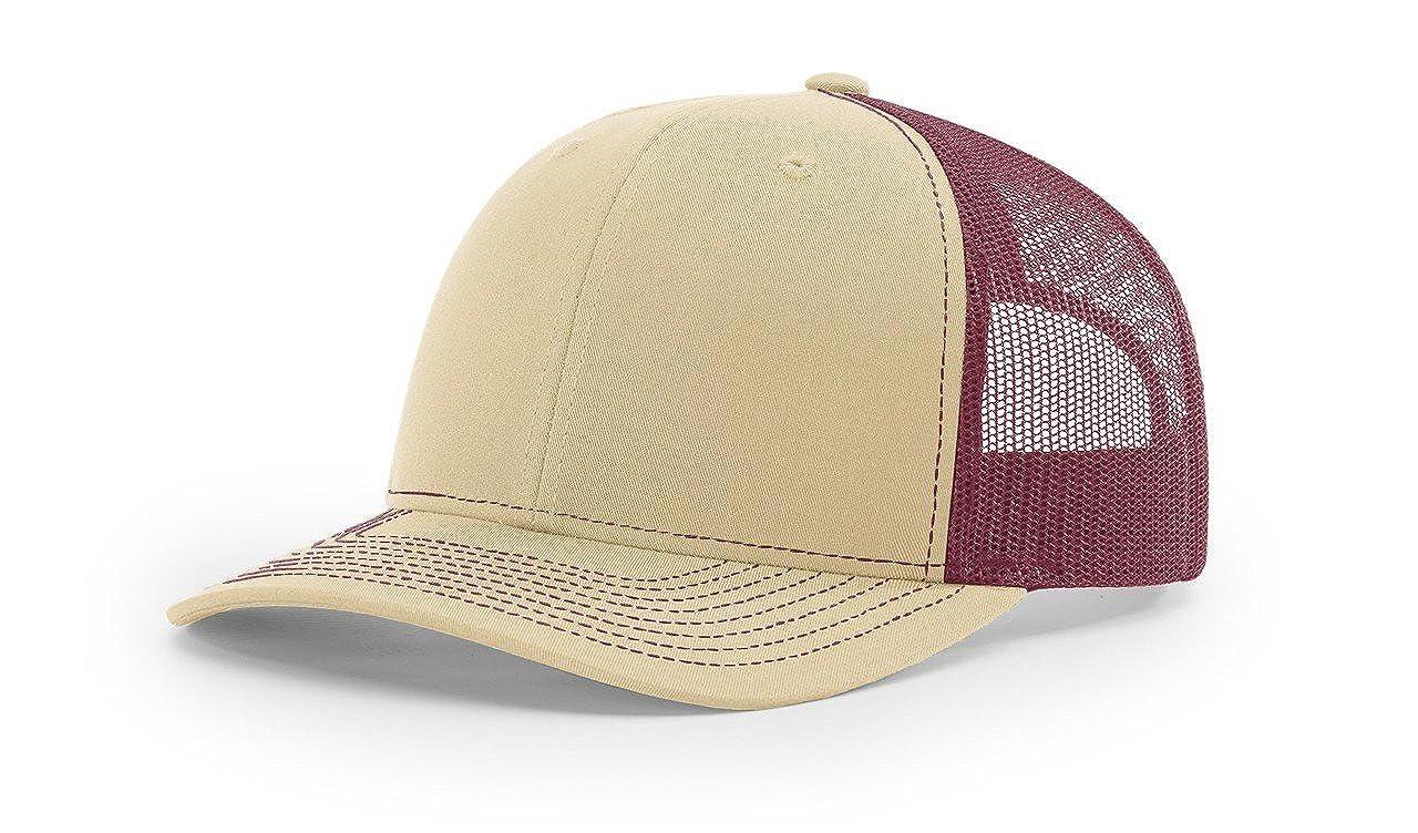 Amazon.com  Richardson Khaki Burgundy 112 Mesh Back Trucker Cap Snapback Hat  w THP No Sweat Headliner  Clothing 881df8f43ef