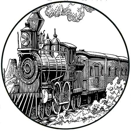 Amazon Com Short Plush Round Rugs Steam Engine Rustic Old Train In