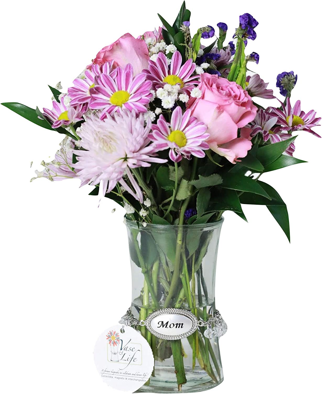 Vase of Life - Mixed Flower Bouquets - Includes Vase, Sentiment and Pink Roses, Fugi Mums, Purple Statice, Pom Poms, and Baby's Breath (Mom)