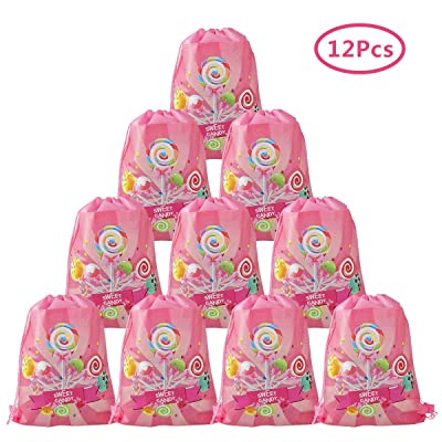 Cieovo 12 Pack Candyland Party Favor Goodie Bags, Treat Gift Drawstring Bag Lollipop Backpack Birthday Party Decoration for Sweet Candy Theme Birthday Baby Shower Wedding Party Supplies (Pink): Toys & Games