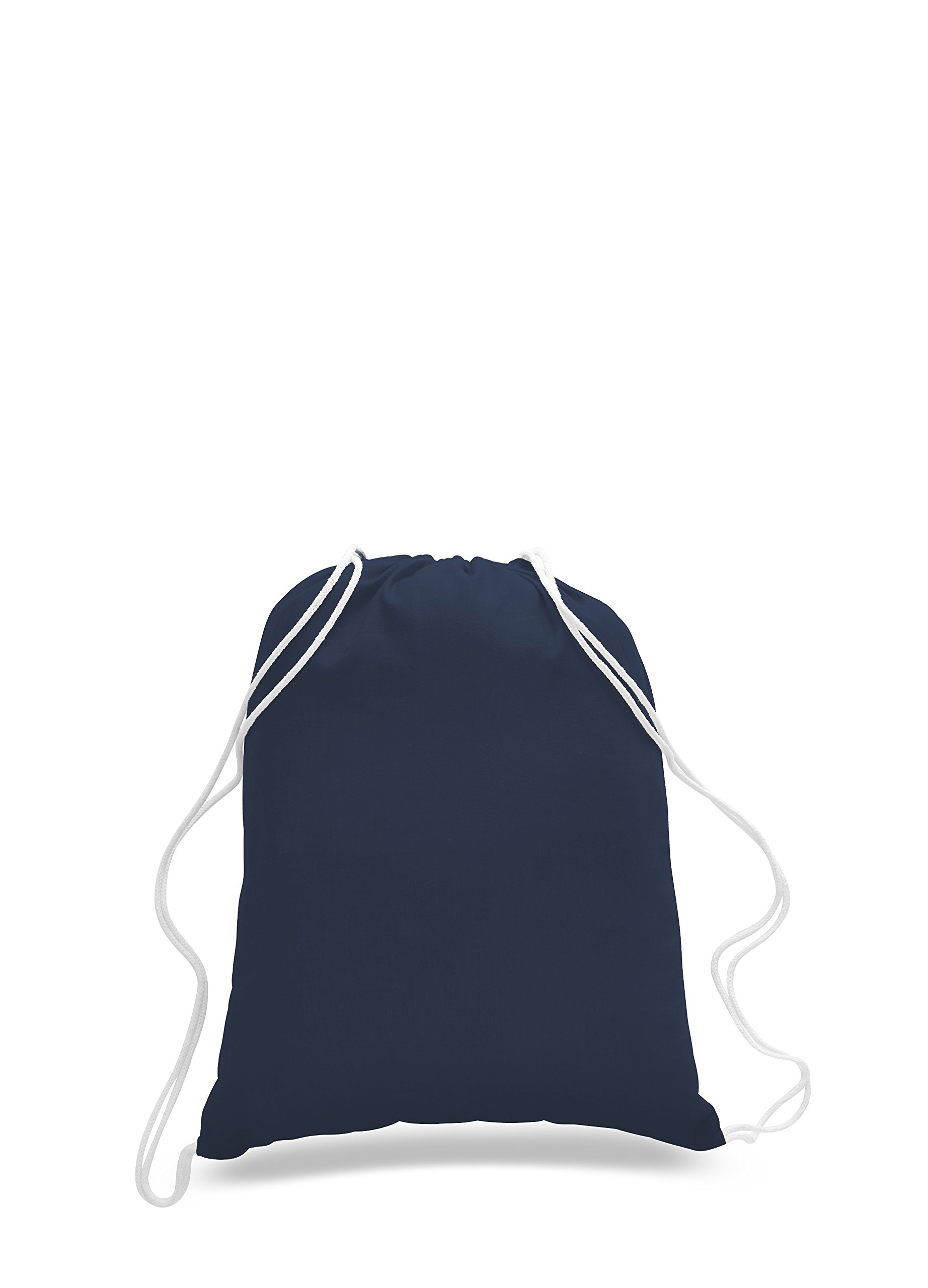 Pack of 2 - Eco-Friendly Reusable Drawstring Bag Economical 6 oz. Cotton Canvas Drawstring Bag Cinch bags size 14''W x 18''H in Navy Blue color - CarryGreen Bag