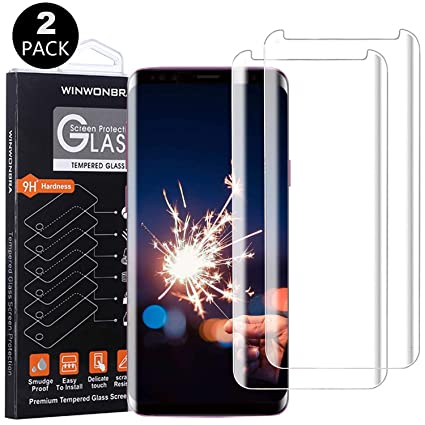 Case Friendly Clear 2-Pack Anti-Scratch Curved Edge S9 Screen Protector Tempered Glass for Samsung Galaxy S9 Bubble-Free