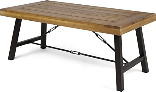 Christopher Knight Home 304397 Easter Outdoor Acacia Wood Coffee Table, Teak, Finish Rustic Metal