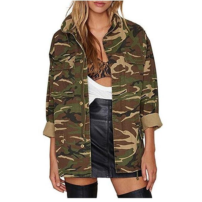 Amazon.com: taiduosheng Mujer Suelta fino camuflaje abrigos ...