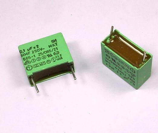 50 .1uf 250V 5/% RADIAL METALLIZED BOX FILM CAPACITORS CFB104J250 QTY