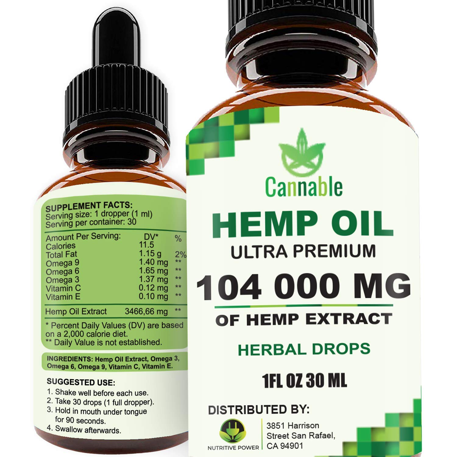 Hemp Oil Extract 104 000 mg, All-Natural Drops for Pain, Stress, Anxiety Relief, Deep Restful Sleep by Cannable