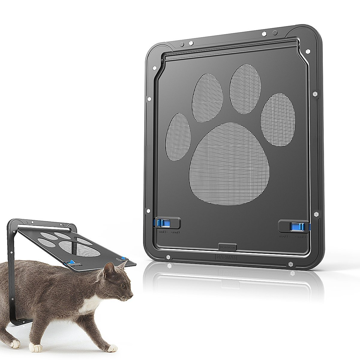 Modernlife Pet Screen Door, Magnetic Flap Screen Automatic Lockable Black Door Small Dog Cat Gate 10.2 x 8inch by Modernlife (Image #1)