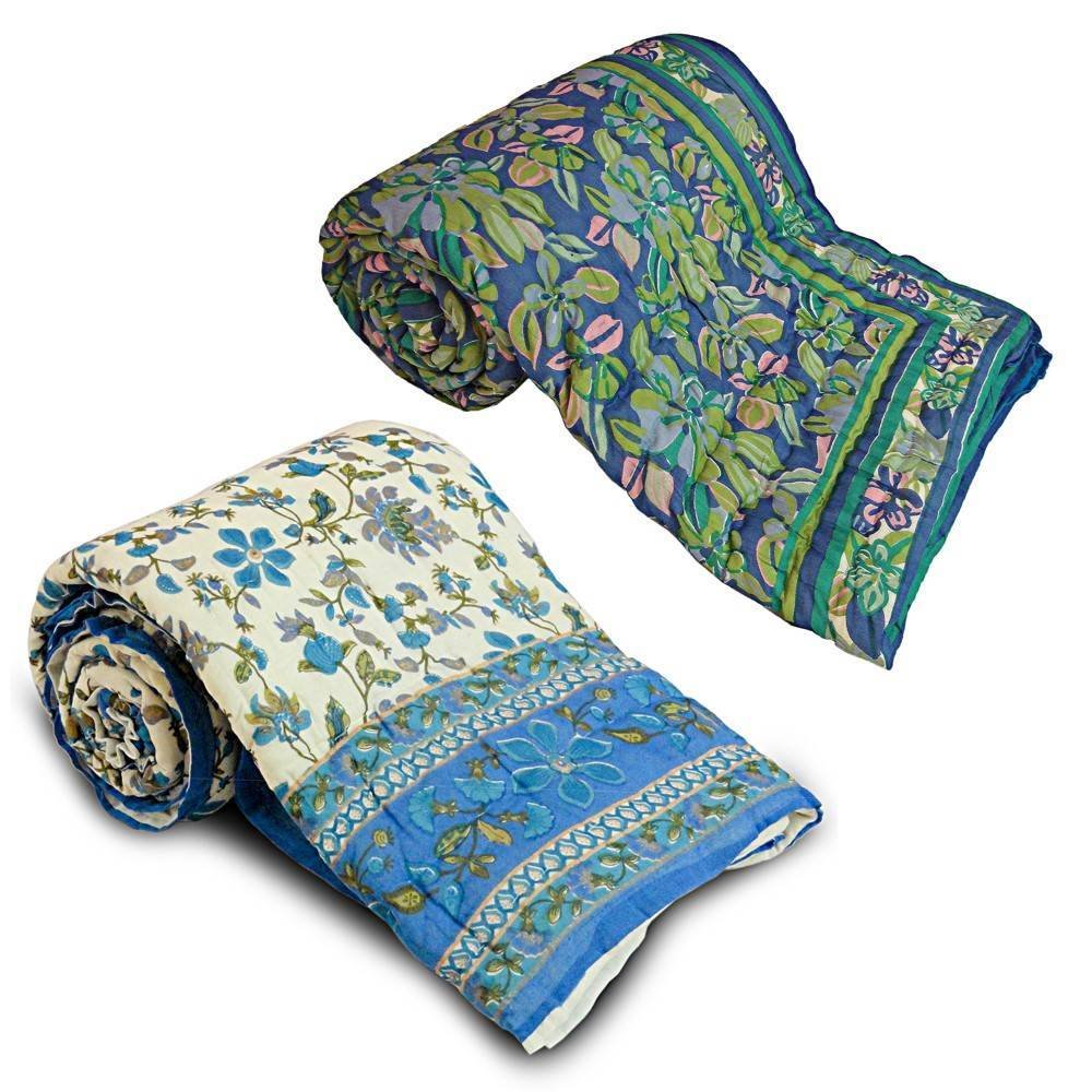 Little India Printed 2 Piece Cotton Razai Quilt Set 1 Multicoloured