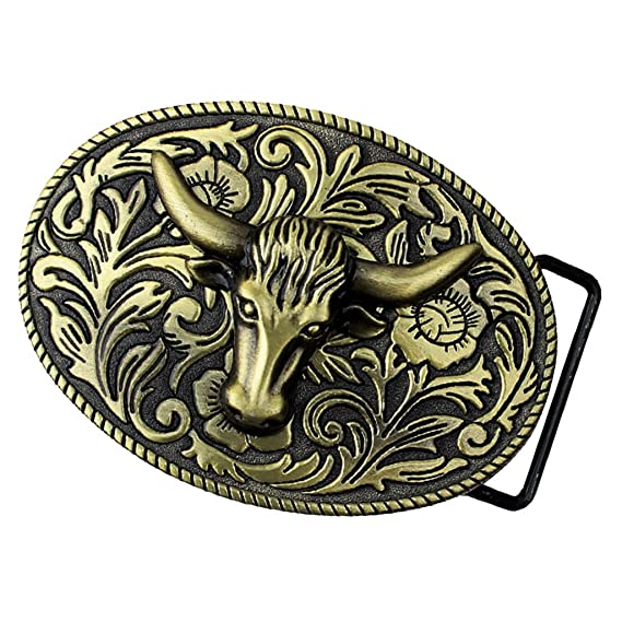 Rodeo Goat Head Belt Metal Belt Buckle Arabesque Floral Western Cowboy Cowgirl