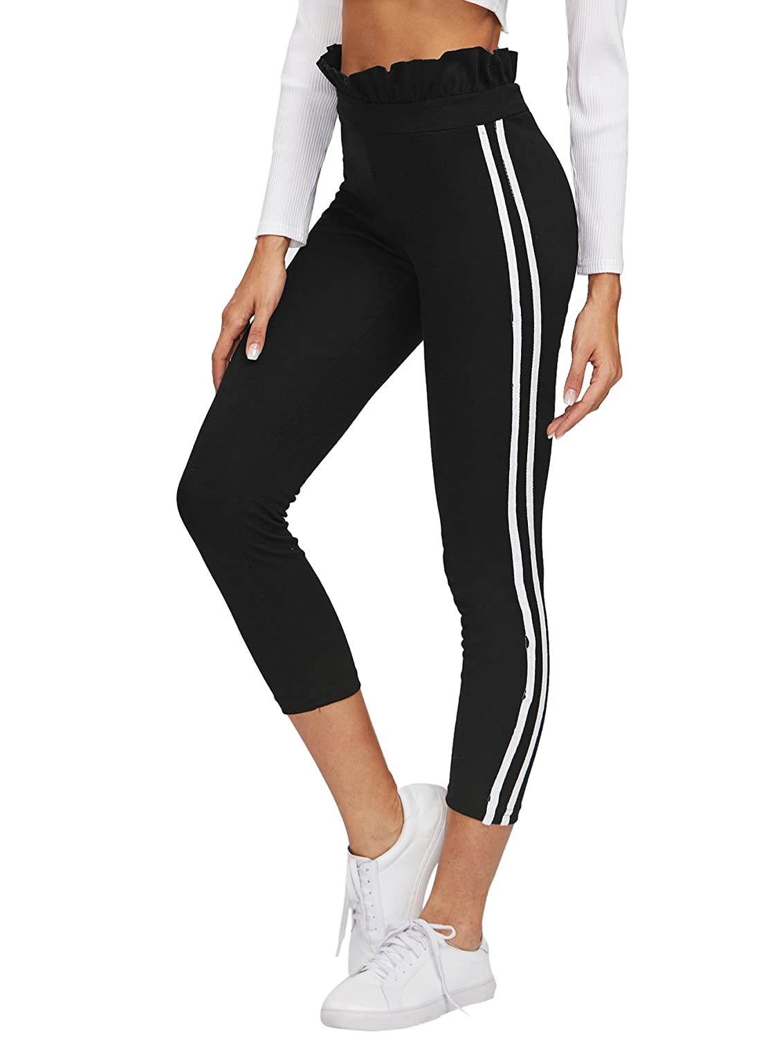 SweatyRocks Women's Stretchy Capris High Waist Ruffle Cropped Leggings