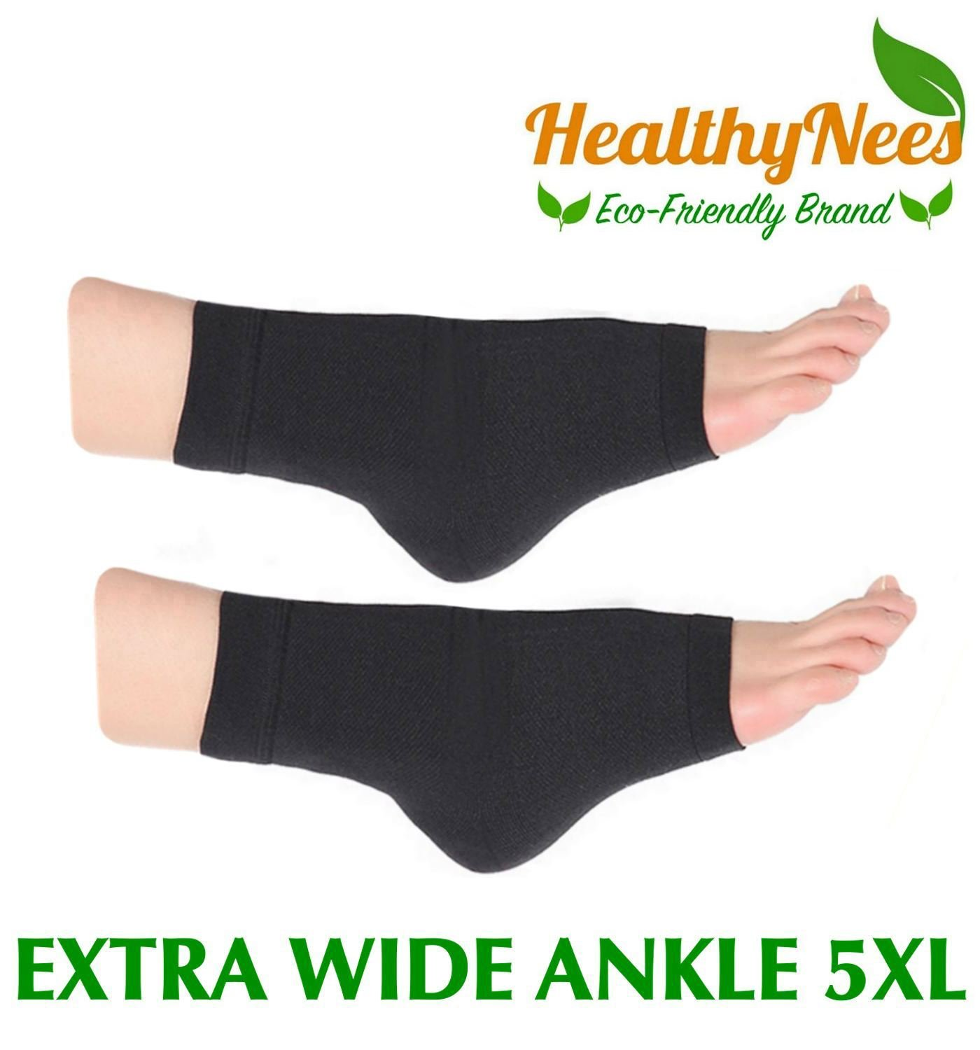 HealthyNees Extra Wide Ankle Big Feet 20-30 mmHg Compression Swelling Foot Pain Circulation Plus Size Sock Open Toe Sleeve (Black, Extra Wide Ankle 5XL)