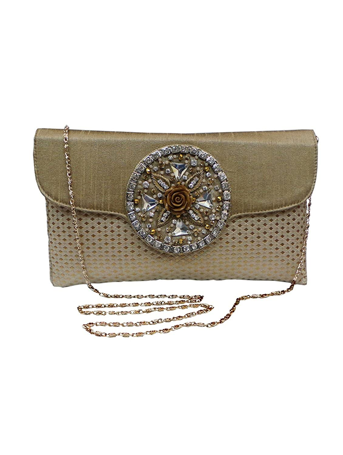 Bhamini Polka Brocade Clutch with Rose Brooch (Gold)