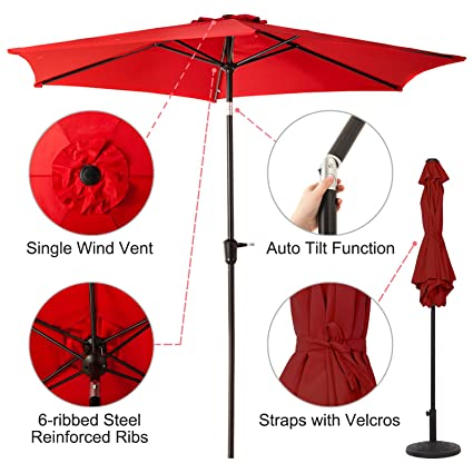 9 FT Patio Umbrella, Outdoor Market Umbrella With Push Button Tilt And  Crank, 6