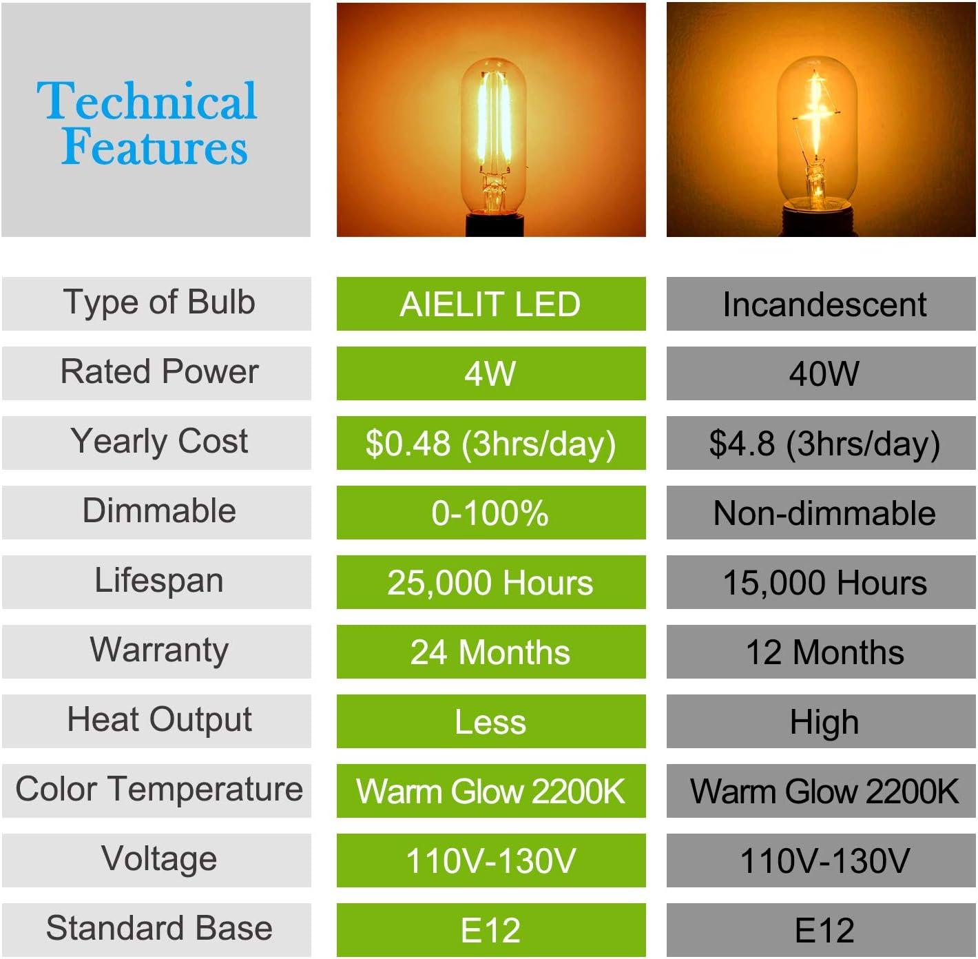 0 100/% 40-Watt Equivalent Rustic T8 Candelabra E12 LED Bulbs AIELIT 4W Tubular LED Light Bulb for Bar Restaurant Farmhouse Industrial Kitchen Lighting Amber Warm 2200K Clear Dimmable 8-Pack