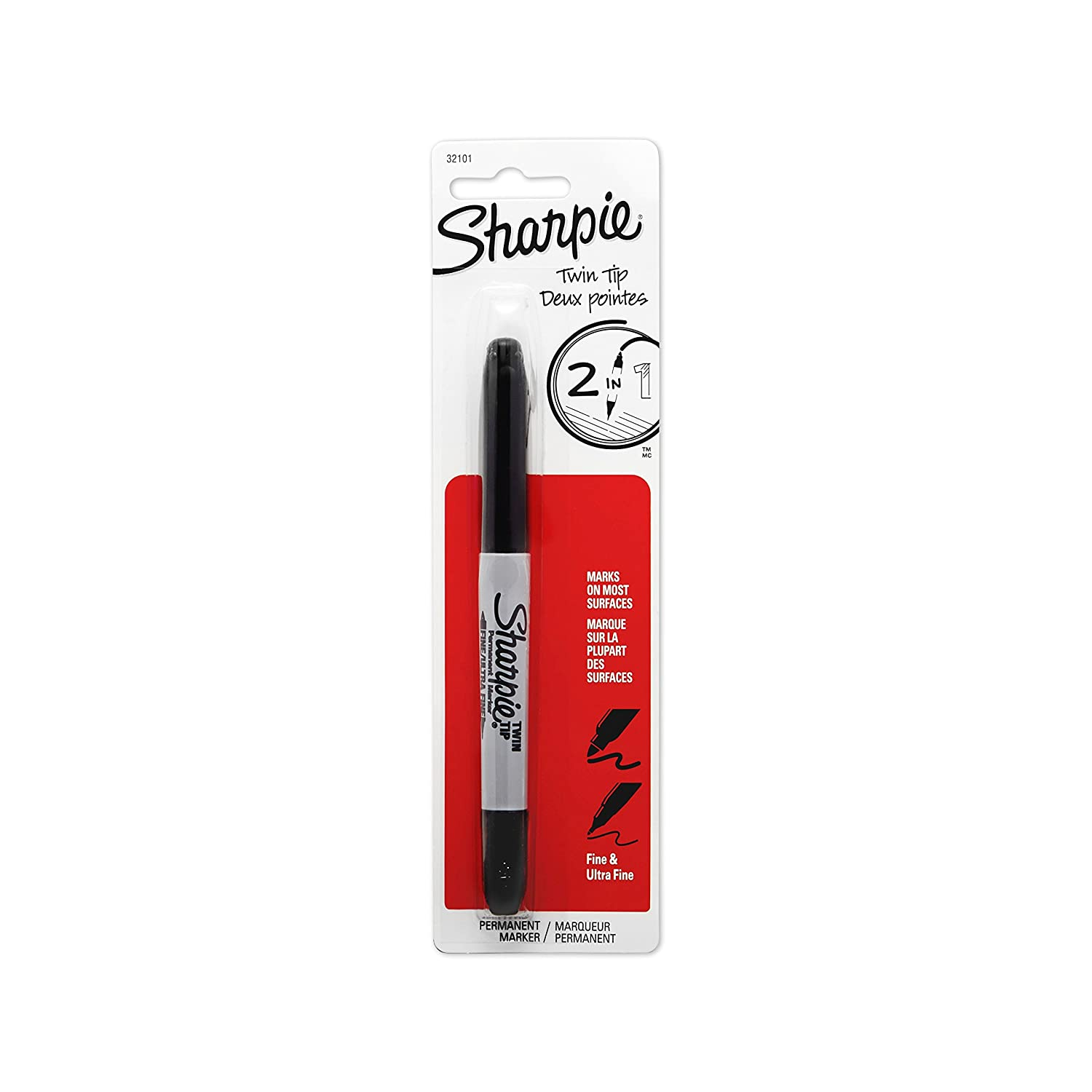 Sharpie Twin Tip Fine Point and Ultra Fine Point Permanent Markers, 1 Black Marker(32101PP)