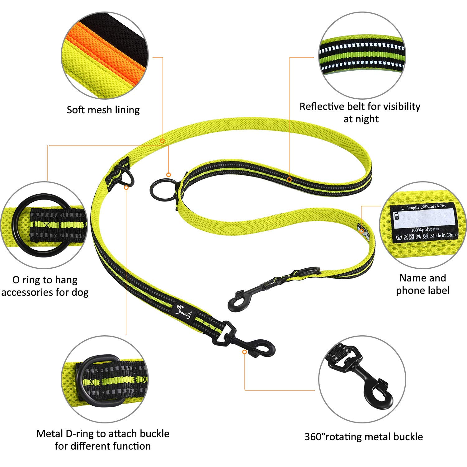 L:1 Width,3.6Ft-6.6Ft, Orange Multi-functional Dog Leash Adjustable Rope Durable Nylon Reflective Material Pet Leash for Walking Training Running 2 dogs to 3 different sizes