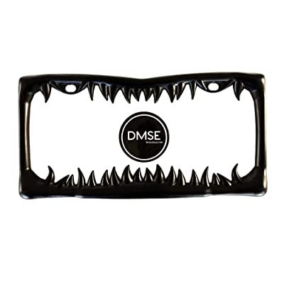 DMSE Universal Metal Shark Tooth Teeth Jaws License Plate Frame Cool Design For Any Vehicle (Black Sharks Tooth): Automotive