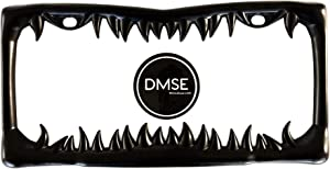DMSE Universal Metal Shark Tooth Teeth Jaws License Plate Frame Cool Design For Any Vehicle (Black Sharks Tooth)