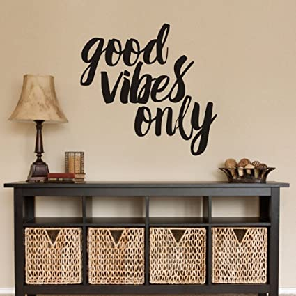 Good Vibes Only Wall Decal Inspirational Wall Quote Living Room Wall Decor  (Small,Black