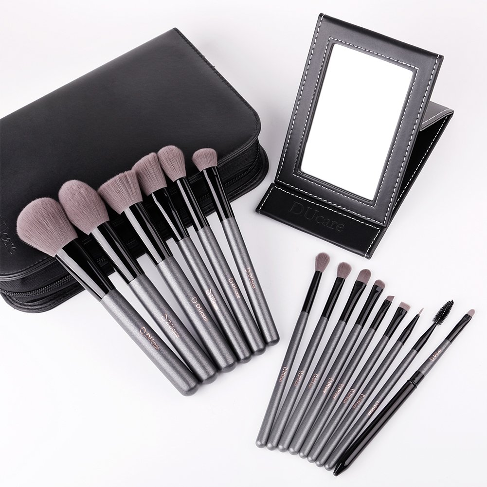DUcare15 Pcs Pro Makeup Brush Set with Case and Travel Mirror Gift Choice Synthetic Professional Foundation Blending Brush Face Powder Blush Concealer Make Up Brushes by DUcare (Image #6)