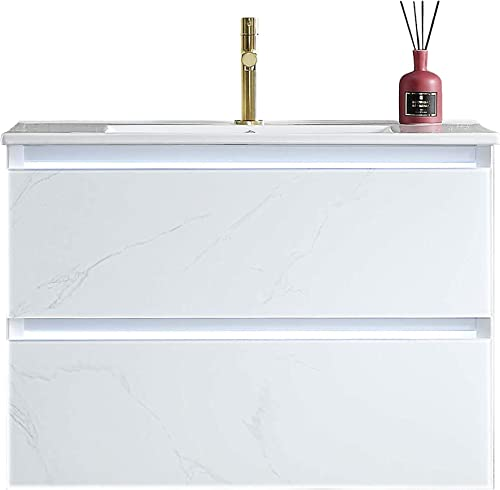 LED Lighted 30 Inch Bathroom Vanity Sink Combo Provides The Dual Benefits of Vanity