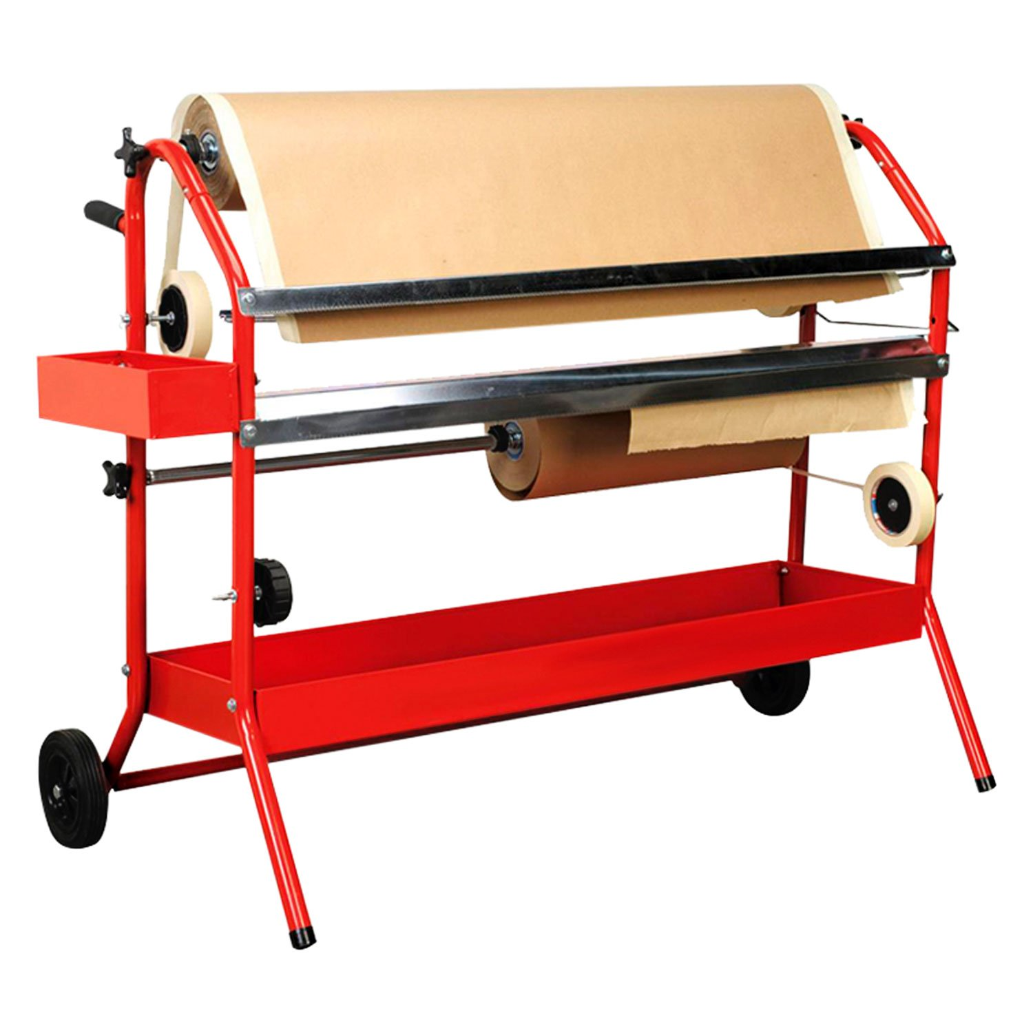 Car Painting Prep Auto Body Paint /& Repair Shop TCP Global Mobile 36 Multi-Roll Masking Paper Machine with Storage Trays