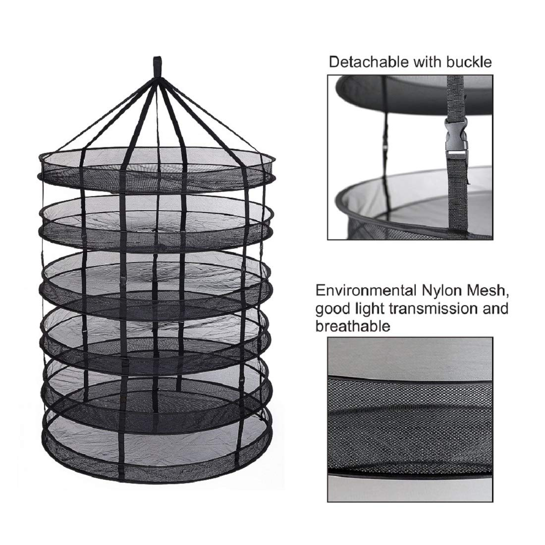 GreenHouser Herb Drying Rack Dry Net 6-Layer Collapsible Mesh Hydroponic Drying Rack Dry Net(3ft 6 Layer) by GreenHouser