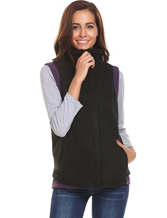 UNibelle Womens Casual Stand Collar Zip Up Front Quilted Vest Grey S