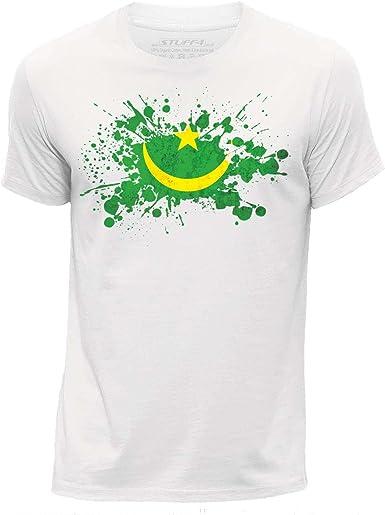 STUFF4 Hommes//Col Rond T-Shirt//Burkina Faso Drapeau Splat
