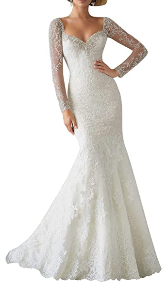 RightBride Womens Ivory Wedding Dresses Mermaid Illusion Sleeve Sweetheart Bridal Gown Lace Dress